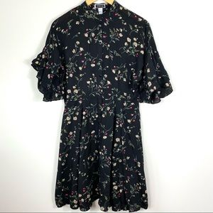 ANOTHER STORY Black/Floral Button-Up T-Shirt Dress